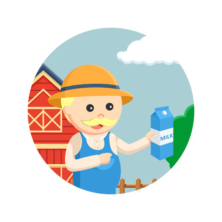 agronomist: fat farmer holding holding milk in circle background