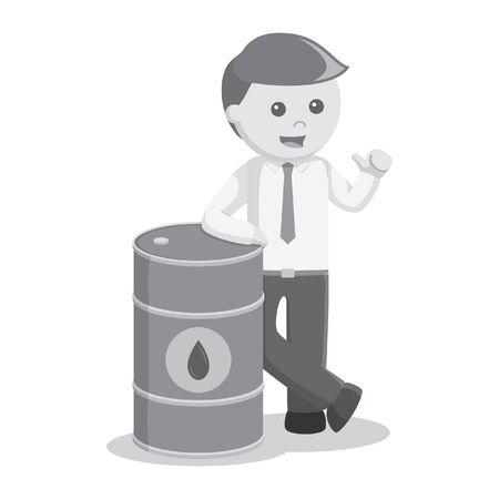 oil color: businessman with oil barrel black and white color style