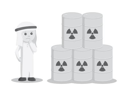 黒と白の色のスタイルをドラム毒性のスタックを見ると、アラブのビジネスマンが心配してください。 写真素材 - 75704669