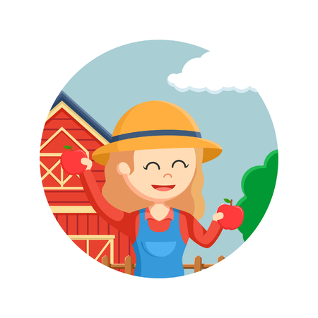 agronomist: farmer woman holding apples in circle background