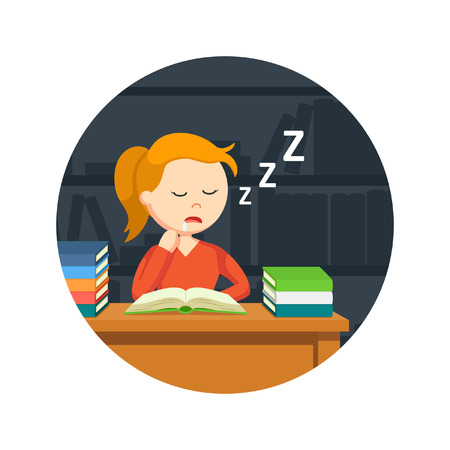 student book: female student sleeping while reading a book in circle background Illustration