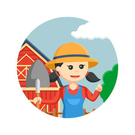 agronomist: farmer woman holding shovel in circle background