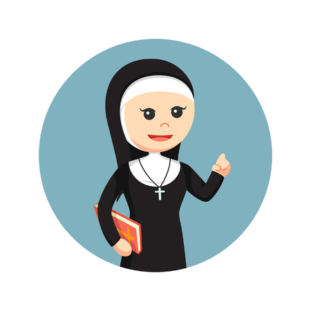 nun holding bible in circle background Illustration