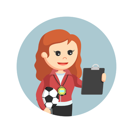 female sport teacher looking at clipboard in circle background