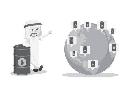 oil color: Arab businessman showing his oil costumer around the world black and white color style