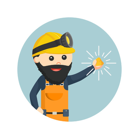 Miner holding shiny gold in circle background