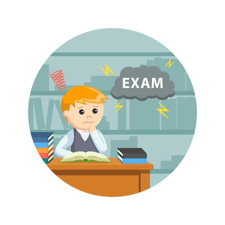 Male student worrying about his exam in circle background Illustration