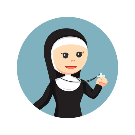 nun: Nun holding cross pendant in circle background