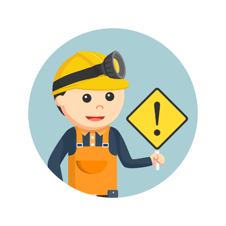 Miner holding warning sign in circle background Illustration