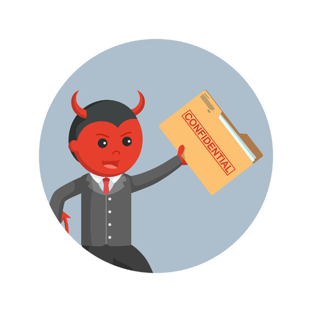 devil business man stealing confidential file in circle background Illustration