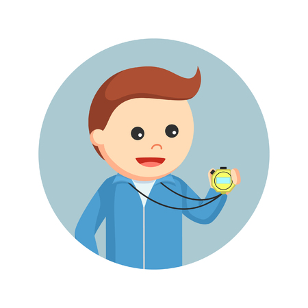 male sport teacher looking at stopwatch in circle background Illustration