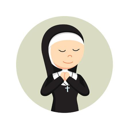 nun praying in circle background Illustration