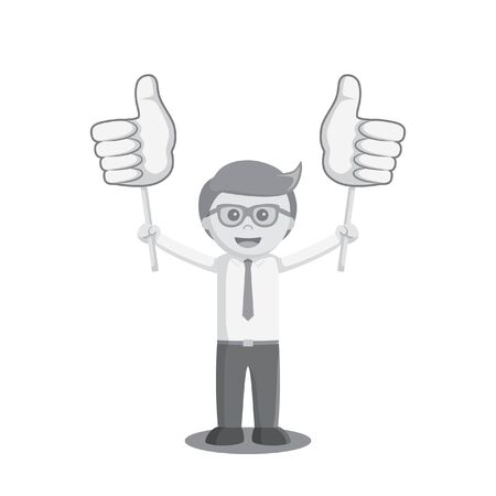 happiness or success: businessman holding two thumb up sign board black and white color style Illustration