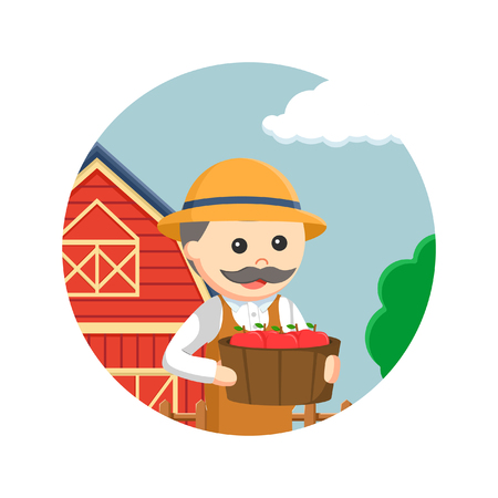 agronomist: fat farmer holding carrying bucket full of apples in circle background Illustration