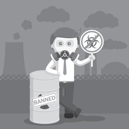 plutonium: businessman prohibit nuclear sites black and white color style Illustration