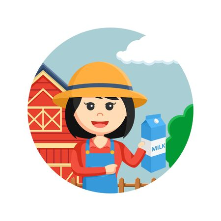 agronomist: farmer woman holding milk in circle background