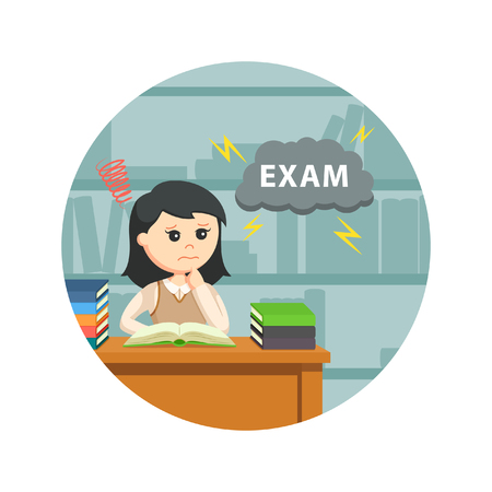 frustrated student: Female student worrying about her exam in circle background Illustration