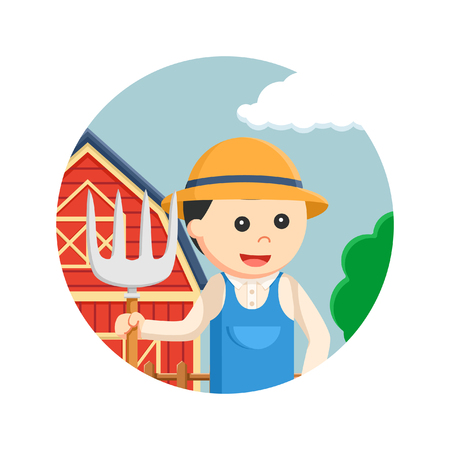 Farmer holding a pitchfork in circle vector