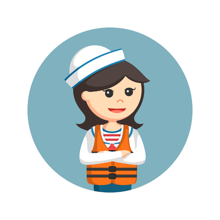 female sailor wearing life jacket in circle background