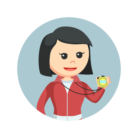 Female sport teacher holding stopwatch in circle