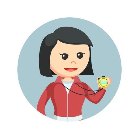 Vrouwelijke sportleraar chronometer in cirkel te houden