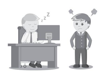 上司が怒っているときジョブの黒と白のカラー スタイルで寝ているビジネスマン