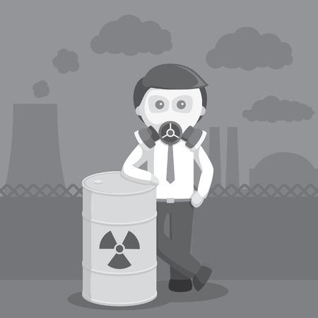 hombre de negocios con máscara de gas y estilo de color blanco y negro de barril tóxico Ilustración de vector