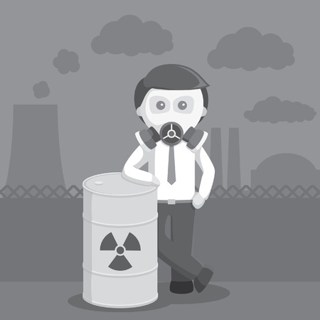 businessman with gas mask and toxic barrel black and white color style