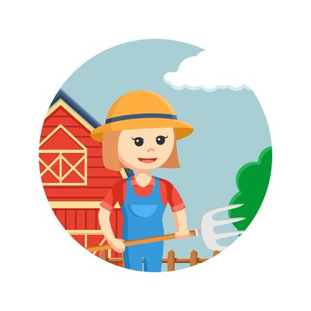 Farmer woman holding pitchfork in circle background Illustration