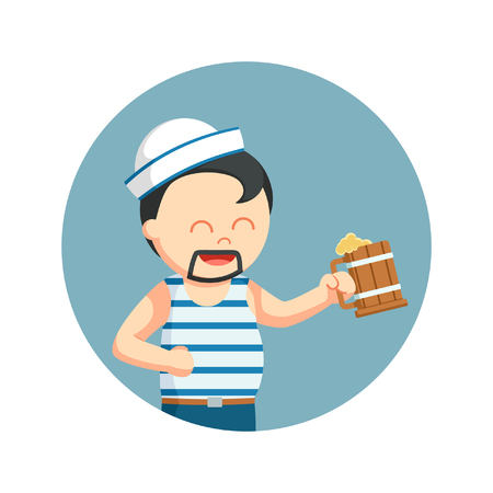 Fat sailor with beer in circle background Illustration