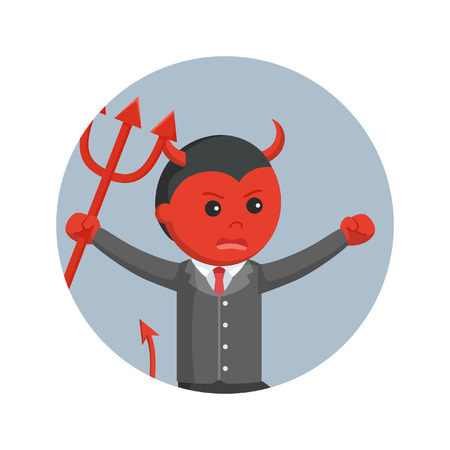 Devil business man running angry holding trident in circle background