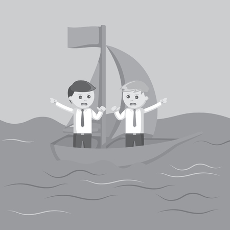 controversy: Two businessman arguing on a boat black and white color style Illustration