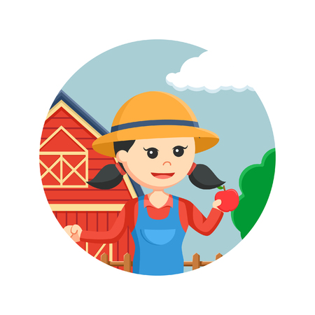 agronomist: farmer woman holding apple in circle background