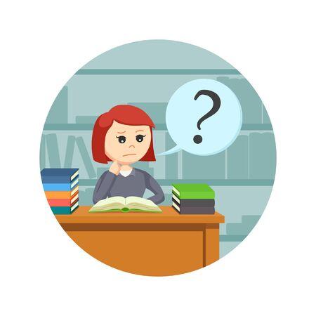 marca libros: estudiante confundido mientras leyendo un libro en el fondo del círculo