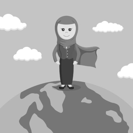 forerunner: black and white super arab businesswoman standing on globe black and white color style Illustration