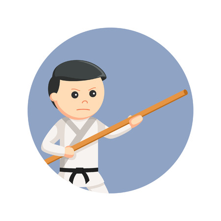 karate man holding bo staff in circle background