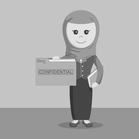 classified: black and white arab businesswoman holding confidential file folder black and white style
