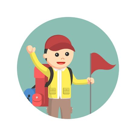 hiking trail: male hiker with flag in circle background
