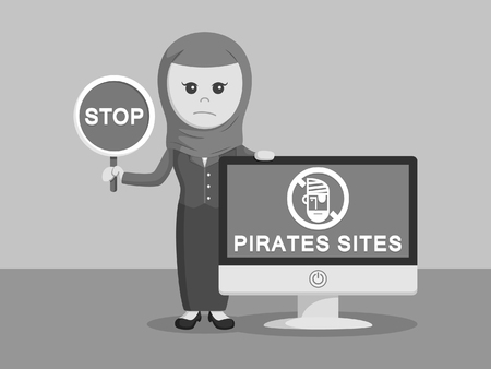 stop piracy: arab businesswoman with pirates sites monitor black and white color style Illustration