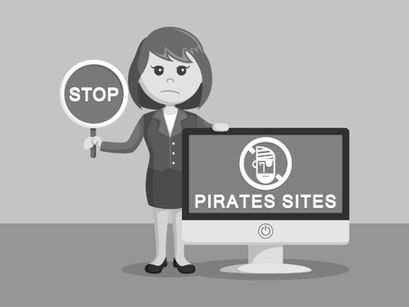 Businesswoman with pirates sites monitor black and white color style
