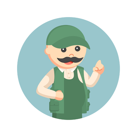 finger fish: fat fisherman with pointing finger in circle background Illustration