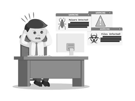 黒と白の実業家パニック時ウイルス攻撃が彼のコンピューターの黒と白のスタイル 写真素材 - 75705061