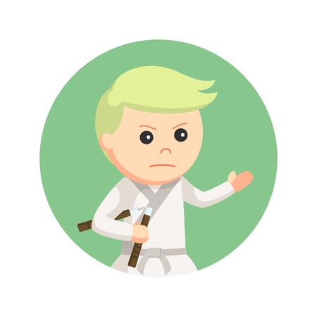 karate kid holding nunchaku in circle background