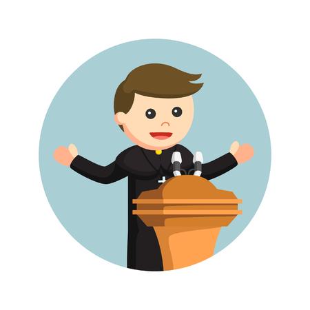 Prêtre donnant discours en cercle