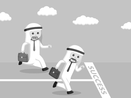 Black and white arab businessman races black and white style Illustration