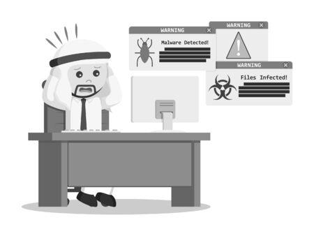 アラブのビジネスマン パニック時ウイルス攻撃が彼のコンピューターの黒と白のスタイル 写真素材 - 75629443