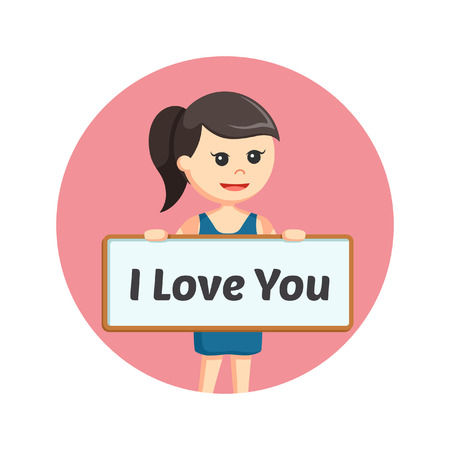 girl in love: girl holding i love you board sign in circle background Illustration