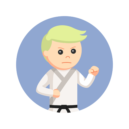 karate man fighting pose in circle background