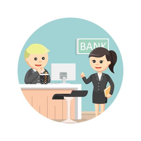 bank teller serve businesswoman in circle background Vetores
