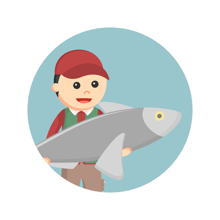 fisheries: male fisherman holding big fish in circle background